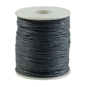 90m gewachste Baumwollschnur 1mm Wachsschnur Schmuckkordel Schnur, Farbwahl, Farbe:grau