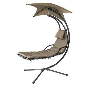 SoBuy OGS39-BR Schwebeliege mit Sonnenschirm Relaxliege Schwingliege Schaukelliege Hängesessel Hängeliege Sonnenliege Belastbarkeit 120kg Braun