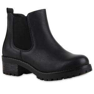 Mytrendshoe Bequeme Damen Chelsea Boots Profilsohle Stiefeletten Blockabsatz 79017, Farbe: Schwarz, Größe: 41