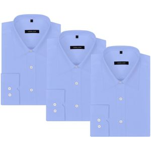 vidaXL Herren Business-Hemd 3 Stk. Gr. S hellblau