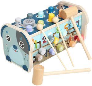Hammerspiel Holz Klopfbank Hämmerchenspiel für Kinder Spielzeug 3 in 1 Klopfspiel mit Hammer Lernspielzeug Pädagogisches Babyspielzeug Hammerbank Kinderspielzeug
