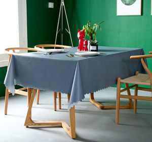 Tischdecke Wasserdicht Oilproof Esstisch rechteckig Abdeckung Tee Tischdecke -(Blau,140X240CM)