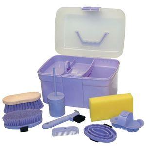 Kerbl Pferde-Putzbox für Kinder mit 8 Pflegeutensilien Lila 321765