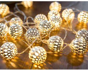 3M 20 Leds Lichterkette Marokkanische LED Lichterkette Warmweiß Kugeln Orientalisch Silber Led Kette Batteriebetrieben