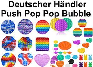 Push it Pop  up Bubble Rund gelb sensorisches Beruhigungsspielzeug  Anti Stress beruhigend Fidget Toy  tiktok Neuheit gegen Langeweile Zappeln Therapie-Spielzeug zum Drücken