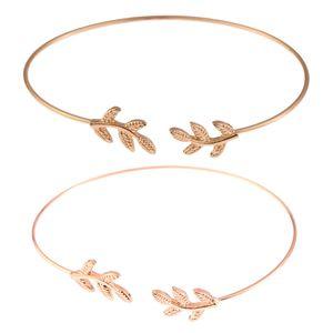 2x Metall Armbänder Armreifen Armband Blätter Armkette Glitzer Armspange
