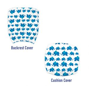 ABAKUHAUS Elefant Bürostuhl Schonbezug, Blau-Tier-Kind-Theme, dekorative Schutzhülle aus Stretchgewebe, Blau Weiss
