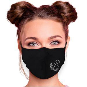 Alsino Alltagsmaske Mundschutzmaske Mundschutz Stoffmaske mit Glitzersteinchen verstellbar Herren Damen verschiedene Motive, Modell wählen:Anker