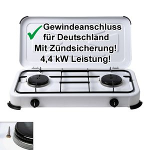 Gaskocher 2-flammig mit Deckel - Gasfeld Gaskocher Camping-Kocher Kochstelle 4,4 kW 50mbar