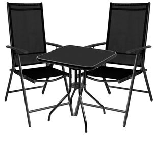 3-teilige Bistro Sitzgarnitur mit Klappstühlen Schwarz
