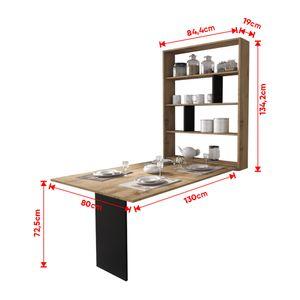 Selsey Esstisch ESPIGO - Wandtisch klappbar mit Regal - Wotan Eiche - Tischplatte rechteckig 130 x 80 cm