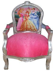 Casa Padrino Barock Kinder Stuhl Rosa/Silber Prinzessin Stuhl - Armlehnstuhl