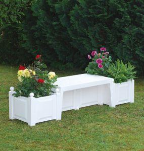 """KHW Gartenbank """"Berlin"""" mit Pflanzkästen  ; Farbe: Weiß ; Maße (LxBxH): 174 cm x 49 cm x 41 cm ; 43001"""