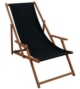 Liegestuhl schwarz Sonnenliege Gartenliege Holz Deckchair Strandstuhl Massivholz Gartenmöbel 10-305
