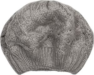 styleBREAKER Damen Strick Baskenmütze mit Zopfmuster, Winter, Barett, Franzosen Mütze 04024166, Farbe:Beige