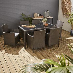 Gartengarnitur 6 Personen - Tavola 6 Grau - Kunststoffrattan, 150 cm Tisch, graue Kissen, 6 Sessel