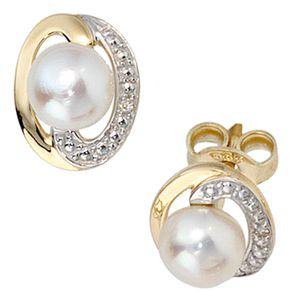 Ohrstecker Zuchtperlen Diamanten Brillanten 585 Gelbgold Ohrschmuck Damen