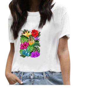 Damen Kurzarm White Baumwolle-Blend Print Urlaub O Neck Shirts Tops Größe:XXL,Farbe:Bunt