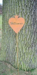 Gartenstab, Willkommen, Welcome Rankstab,  Eisen , Rost , 117 cm
