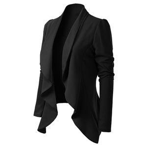 Damen Eleganter Stil Langarm Umdrehkragen Langarm Kurz Blazer Mantel Größe:XL,Farbe:Schwarz