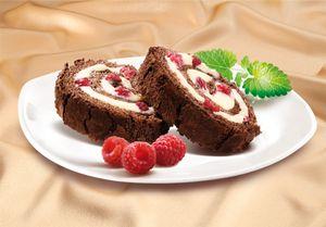 MARLENKA Honig-Biskuitrolle mit Kakao und Himbeeren 300g