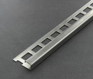 Fliesenschiene als Quadratprofil, Edelstahl (V2A) glänzend, Länge 2,50 m 10 mm Fliesenprofil