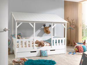 Vipack  Hausbett mit 90 x 200 cm Liegefläche und Bettschublade, Korpus Weiß lackiert, Dach in Weiß