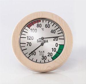 Eliga Klimamesser für Sauna Ø170mm Skala silber mit rundem Holzrahmen