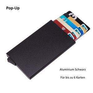 Kreditkartenetui Geldbörse RFID Schutz Pop-Up Kartenhalter Aluminium Schwarz