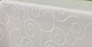 First-Tex Ornament Damast Tischdecke, eckig, 160x160 cm, Creme, Pflegeleicht, Hochwertig, Bügelarm, Schnelltrocknend