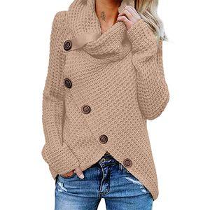 Damen Langarm Rollkragenpullover mit Rollkragen,Farbe: Khaki,Größe:S