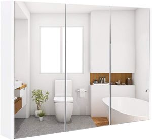 Goplus Spiegelschrank 3 Tuerig, Badezimmerschrank aus Holz, Haengeschrank Badezimmer, Wandschrank mit Spiegel, Badezimmerspiegelschrank Weiss