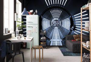 "Komar Fototapete ""Star Wars – Tunnel"", schwarz/blau/weiß, 368 x 254 cm"