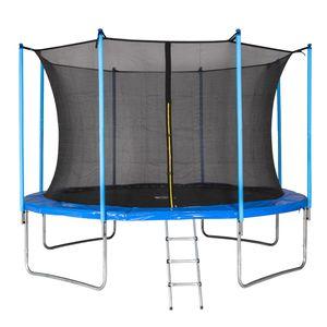 MotionXperts Gartentrampolin 366 cm (blau) mit Netz und Leiter, 100% wetterfest, Belastbarkeit 150 kg