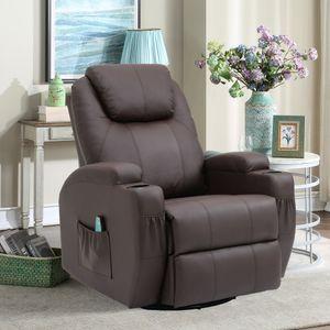 Massagesessel Fernsehsessel Relaxsessel Wärmefunktion 360°drehbar Polstersessel, Farbe: Braun