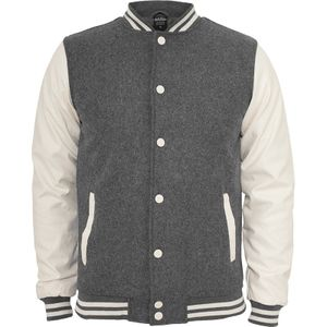 Urban Classics Oldschool College Jacket, Größe: M; Farbe: White/ Grey