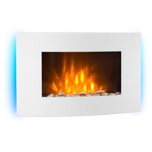 Klarstein Lausanne - horizontaler Elektro Wandkamin, 1000 oder 2000 Watt Leistung, elektrischer Heizlüfter, Aus Glas, Flammenillusion, Fernbedienung, weiß