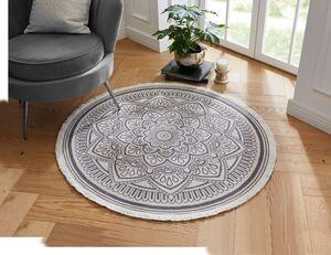 Teppich 'Mandala', mit Fransen, dekoratives Muster, Blickfang, Läufer, Hellgrau