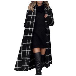 Frauen Plaid Winter Hooded Coat Trench Jacke Warme schlanke lange Mantel Outwear Größe:M,Farbe:Schwarz
