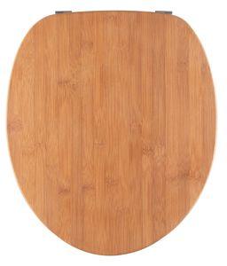 SITZPLATZ® WC-Sitz, Holz Nachbildung Bambus, Holz Toilettensitz mit Echtholz-Kern & Fast-Fix Schnellbefestigung, Standard O Form universal, Metallscharniere, Echtholz WC Deckel, 40592 8