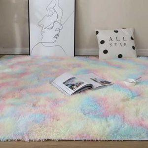 80*160cm Hochflorteppiche Wohnzimmer Teppich Hochflor Shaggy Teppich Fellteppich, Farbe: Regenbogen