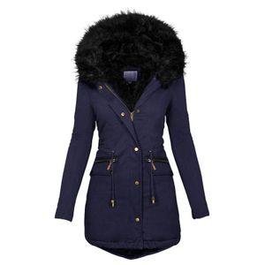 Mode Solid Women Casual Dicker Winter Slim Coat Mantel Größe:XL,Farbe:Blau