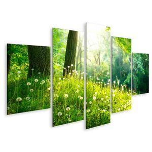 Bild Bilder auf Leinwand Landschaft Grün Gras Bäume Frühling Natur schön Wandbild Poster Leinwandbild GCWL
