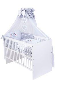 KMbaby Babybett Tany weiss 120x60 mit 10tlg Bettwäsche Set Matratze Gitterbett graue Maus