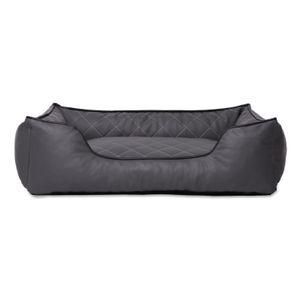 dibea Hundebett in gesteppter Lederoptik, waschbare Bezüge mit Reißverschluss, Größe (S) 65x45 cm, grau