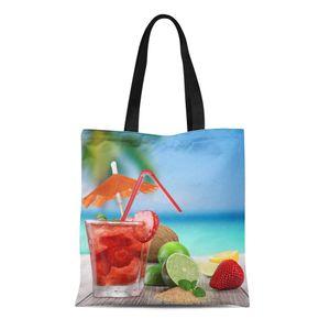 ABPHQTO Canvas Einkaufstasche Grünes Getränk Fruchtcocktail am Strand Sommerfestessen Essen Langlebige wiederverwendbare Einkaufsschulter Einkaufstüte