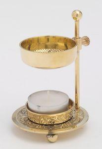 Räucherstövchen höhenverstellbar mit Teelicht aus Messing Gold (Höhe 11 cm)