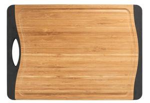 Schneidebrett Holzbrett Bambus rutschfest Saftrille M+