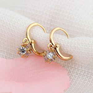 Luxus Celeb 18K Gold Zirkonia Creolen Schmuck Ohrringe Ball Wei? Gifts Party