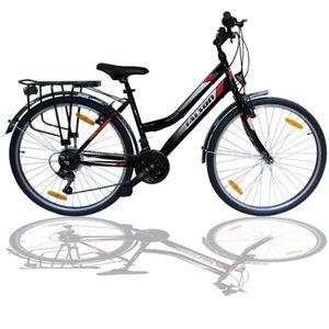 Talson City-Fahrrad 26 Zoll, 21-GG-Shimano-Schaltung mit Beleuchtung und Gepäckträger, Farbe Schwarz